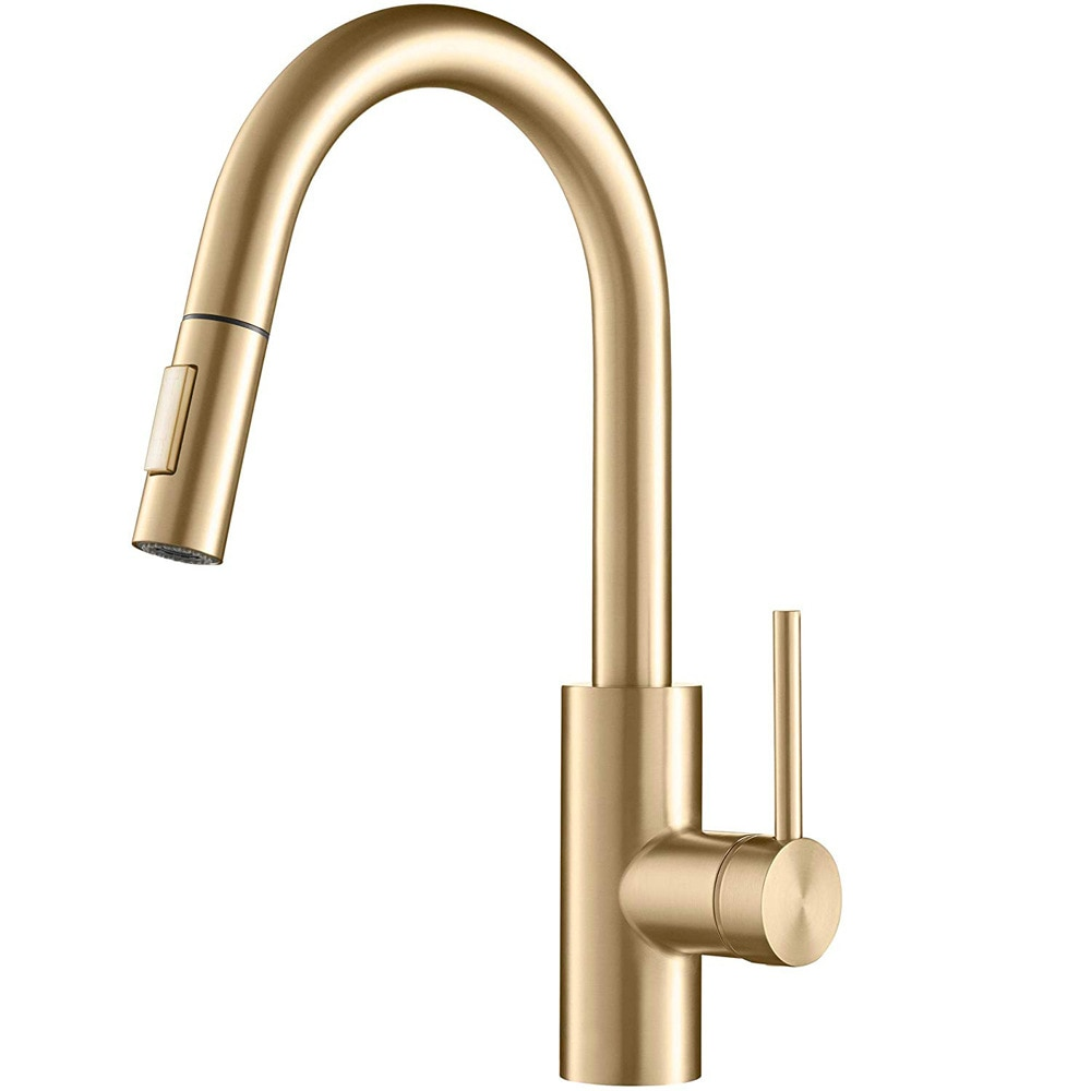 Kitchen Sink Can Be Rotated With 2 Functions Hot And Cold Quick Connection Golden Pull-Out Faucet