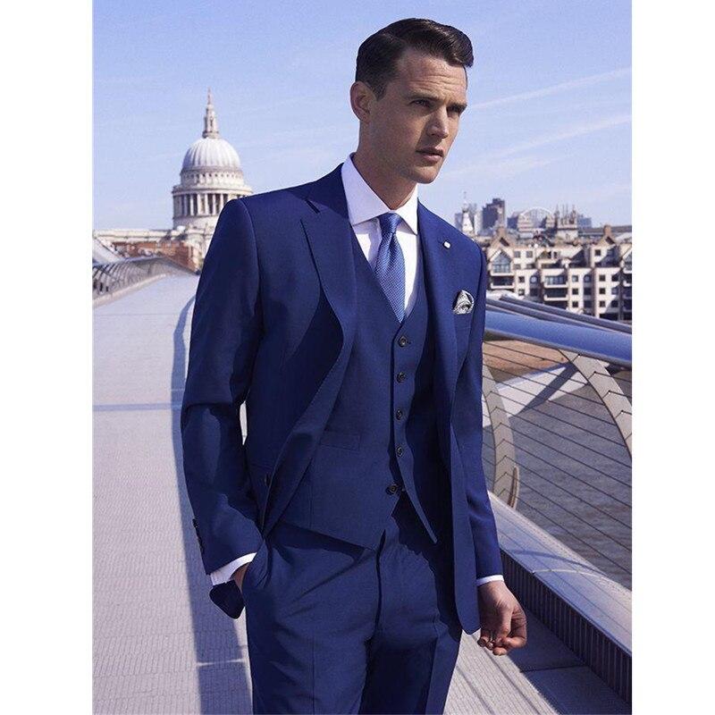 بدلة زفاف رجالية من 3 قطع ، بدلة زفاف مخصصة ، مقاس نحيف ، مع طية صدر السترة ، بدلة زفاف زرقاء ملكية (جاكيت + سترة + ربطة عنق)