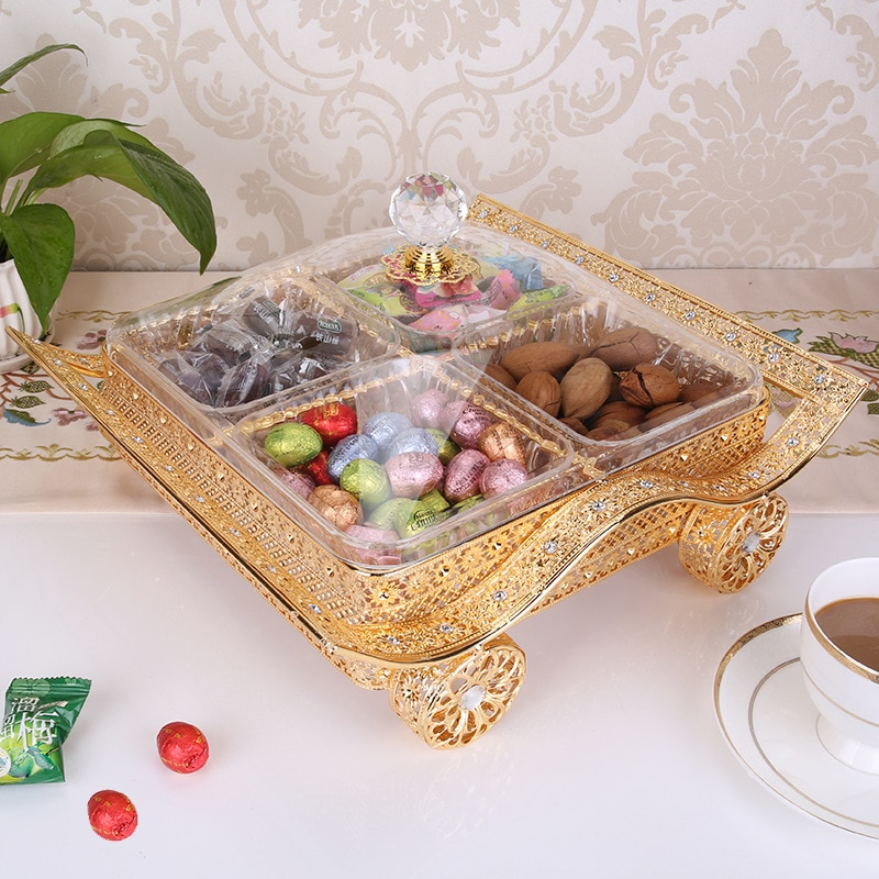 Iron art and ackle products Chinese-style split box home iron wedding candy with cover dried fruit box food storage