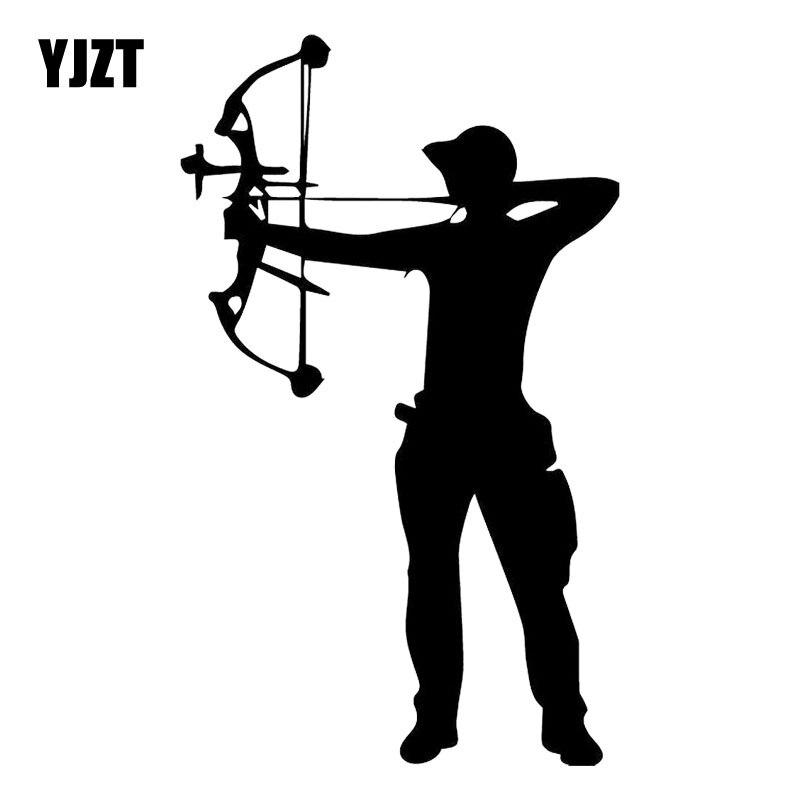 YJZT 10.9CM*18.2CM Crossbow Archer Archery Vinyl Decal Car Trunk Decor Accessories Car Sticker Black/Silver C31-0294