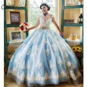 Newest Light Blue Cap Sleeves Ball Gown Quinceanera Dresses With Handmade Flowers Appliques Lace Sashes Vestidos de 15 anos