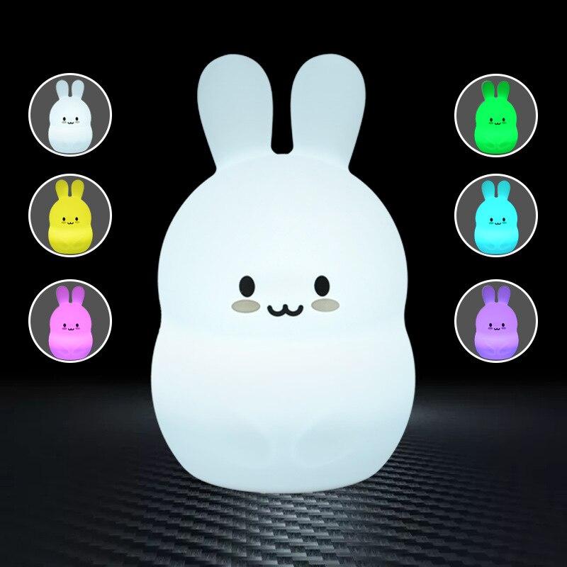 تلون ثلاثية الأبعاد ليلة النوم ضوء ملون سيليكون ضوء أرنب مصباح الليل للأطفال السرير ديكور للطاولات مصباح طفل جيف