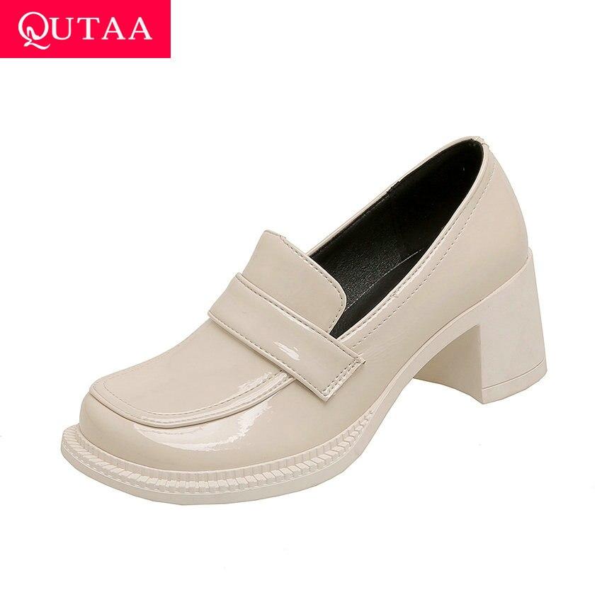 QUTAA 2021 ساحة عالية الكعب عادية جولة تو الانزلاق على أحذية السيدات الربيع الخريف ستوكات كل مباراة النساء مضخات حجم 34-43