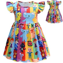 Baby Girl Printing Cartoon Cosplay Dress Flying Sleeve Boutique Summer Clothing for Party