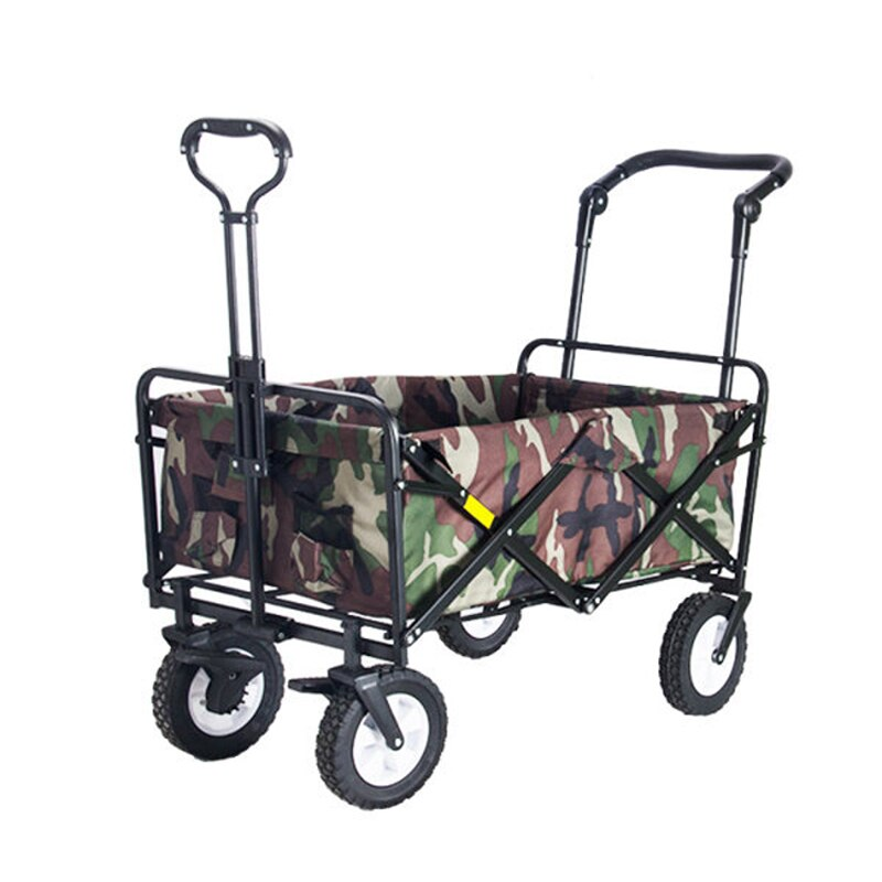 Picnic Camping Cart Folding Garden Outdoor Park Utility Wagon Fat Wheel Bearing Brake  Grocery Canvas Bag Wide All Road