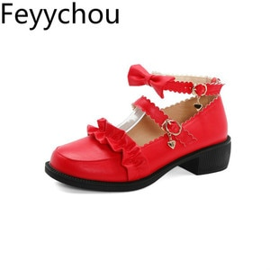 Women Pumps Med Heel Lolita Shoes Round Toe Pu Buckle Platform Spring Autumn 2020 New Sexy Fashion Sweet Casual Red Black Beige