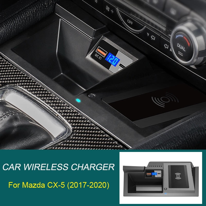 Car QI wireless charger for Mazda CX-5 charger 2017-2020 fast charging plate mobile phone holder accessories 15W iphone 8