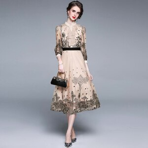 2021 Fashion Runway Midi Dress Summer Women's Dress Half Sleeve Ruffles Lace Floral Embroidery Mesh Dress Vestidos