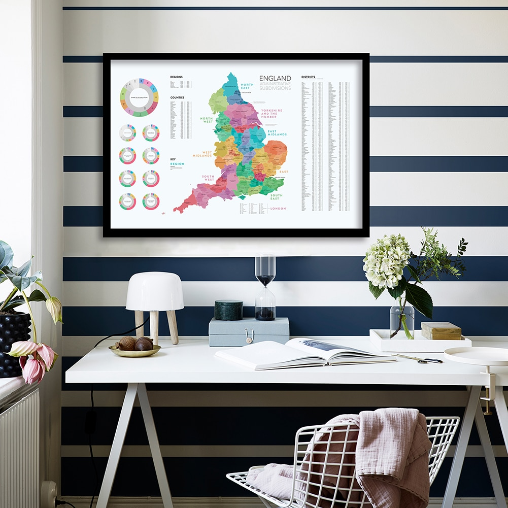 84*59cm The England Map of Administrative Subdivisions Canvas Painting Wall Art Poster School Supplies Living Room Home Decor