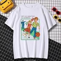 kohpweran classical pattern lets run away artwork printed tshirt vintage traveling streetwear fashion short sleeved casual