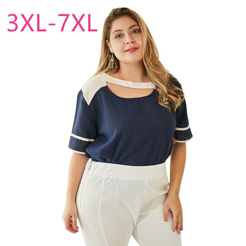 Neue 2020 sommer plus größe tops für frauen große kurzarm lose beiläufige blau weiß patchwork O neck T-shirt 3XL 4XL 5XL 6XL 7XL