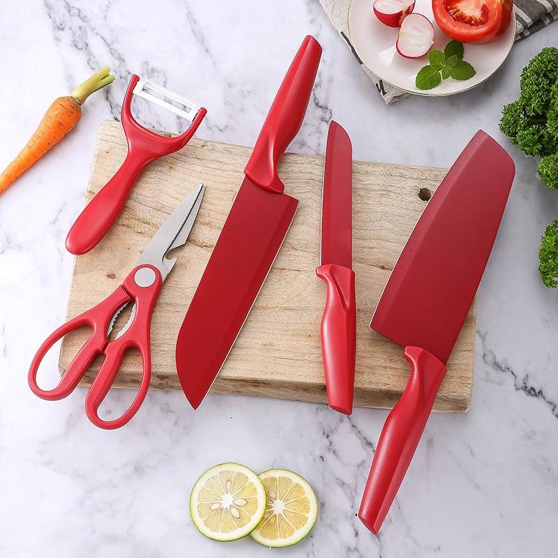 Набор кухонных ножей 420J 2 из 5 предметов, Мультитул из нержавеющей стали для нарезки фруктов, нож для фруктов, подарок набор кухонных принадлежностей 7 предметов из нержавеющей стали с позолотой