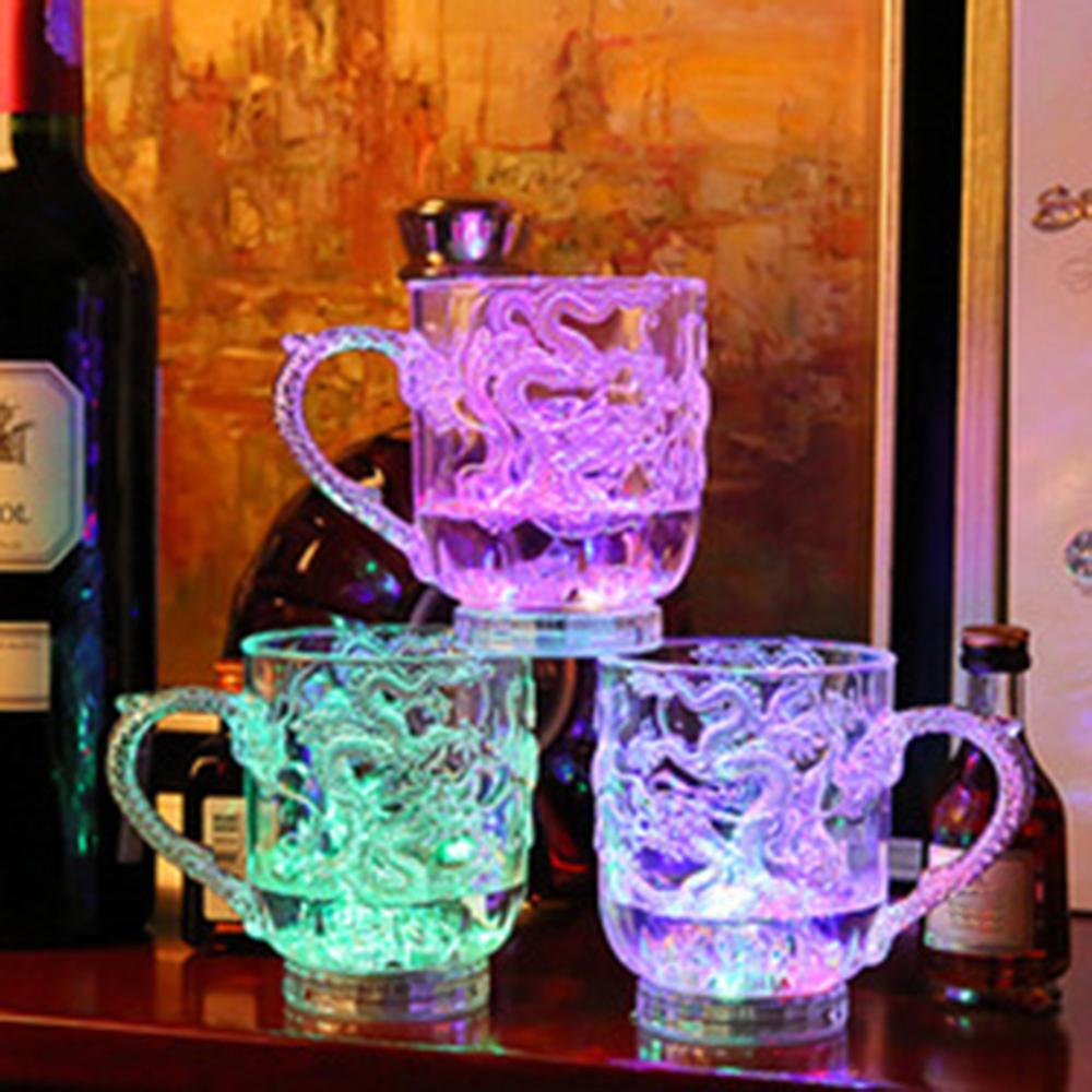 Светодиодный изменяющий цвет чаша с драконом, активированный светильник для пива, стеклянная кружка для чая, молока, кофе, лимонного сока, кружка для виски