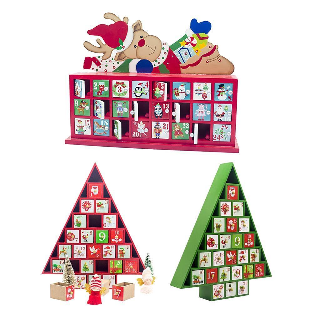 Cuenta atrás de madera Calendario de Adviento pintado Elk calendario con forma de árbol de Navidad caja de almacenamiento adornos de regalo Calendario de Navidad