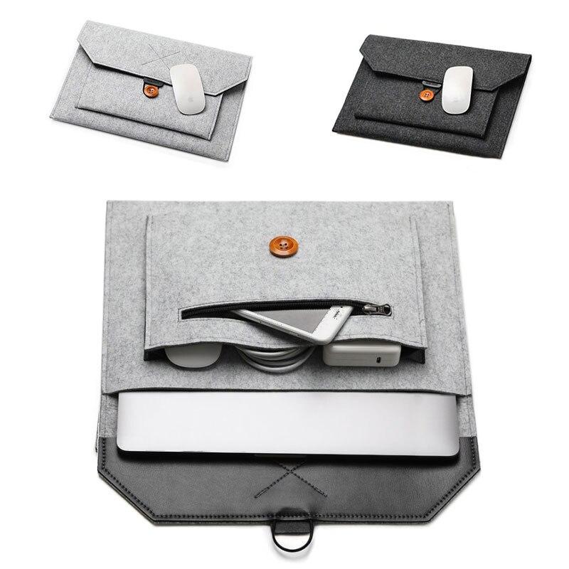 11 12 13 15 funda de fieltro de lana para ordenador portátil, funda de bolso para Macbook Air Pro Retina Lenovo Asus HP, bolsa de forro para ordenador portátil