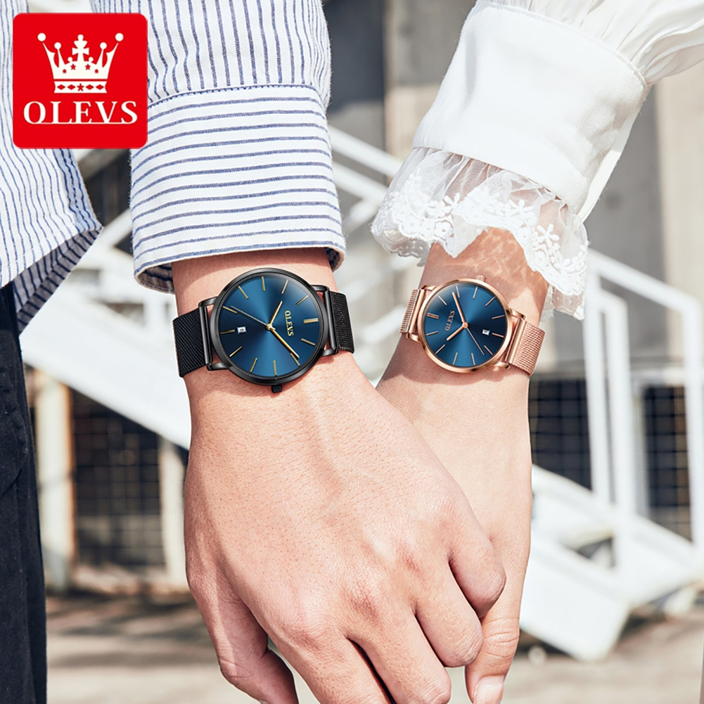 Reloj Pareja Lover Watches Stainless Steel Mesh Strap Quartz Men Women Watch For Couple Lover Paired
