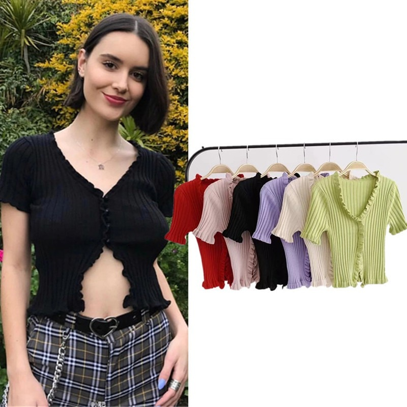 De moda con cuello en V T camisa corta con volantes Croptops sección ombligo expuesto corta de manga larga Camiseta básica Cardigan