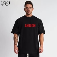 summer new streetwear mens clothing loose casual cotton fitness sportswear jogger bodybuilding fashion short sleeved t shirt
