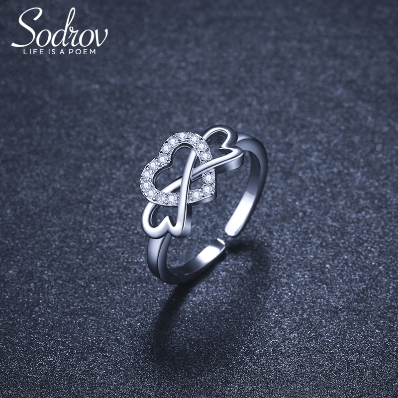 Romantic Hear Silver 925 Ring Silver Rings For Women Free Size Open Ring Adjustable Finger Rings Silver 925 Jewelry Ring