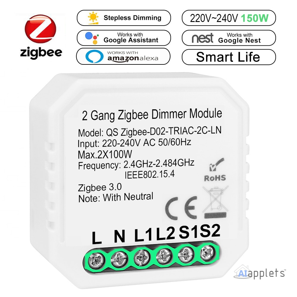 Tuya Zigbee 3.0 Dimmer Smart Switch Module Controller 2 Way Remote Control Smart Light Switch Relay