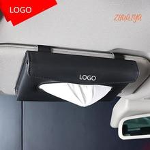 1set Universal Car Sun Visor Tissue Box Holder PU Leather Tissue Box Cover Case Accessories For Audi logo Sline Q3 Q7 TT A8 A6