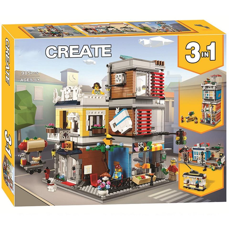Creador de ciudades Townhouse tienda de mascotas cafetería tienda lepining bloques de construcción figuras modelo juegos ladrillos clásicos niños juguetes regalo