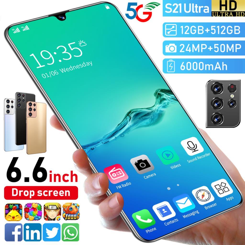 2021 S21 جدا 6.7 بوصة 10 النواة الهاتف الذكي 1440*3200 16GB + 512GB 32MP + 50MP 6800Amh Andriod 11 هاتف محمول