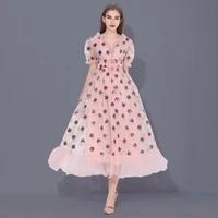 plus size sequins strawberry dresses sexy v neck puff sleeve mesh elegant party dress prom dress women robe 2021