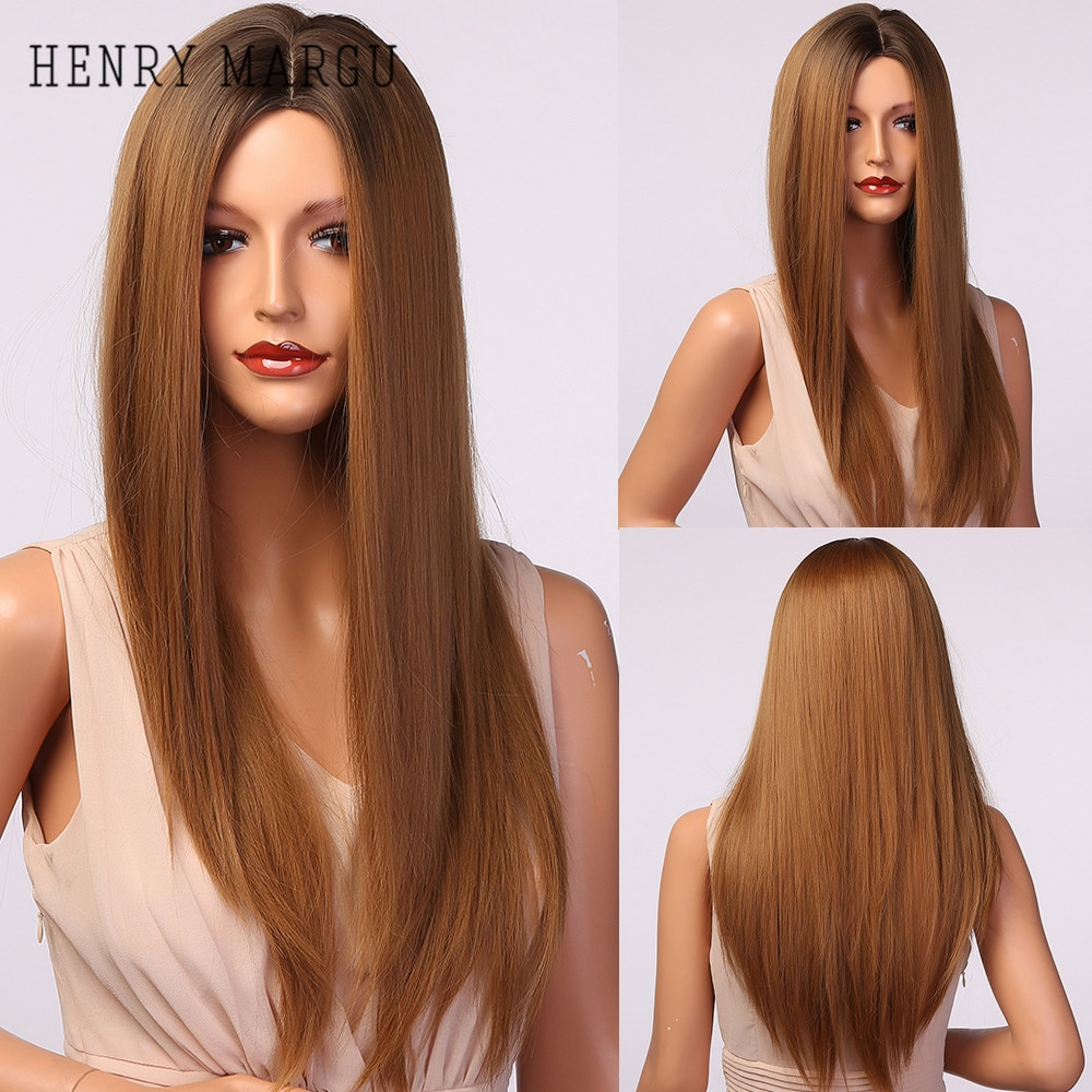 HENRY MARGU Long Straight Ombre Brown Blonde Synthetic Wig Natural Wigs for Women Middle Part Cosplay Hair Wigs Heat Resistant