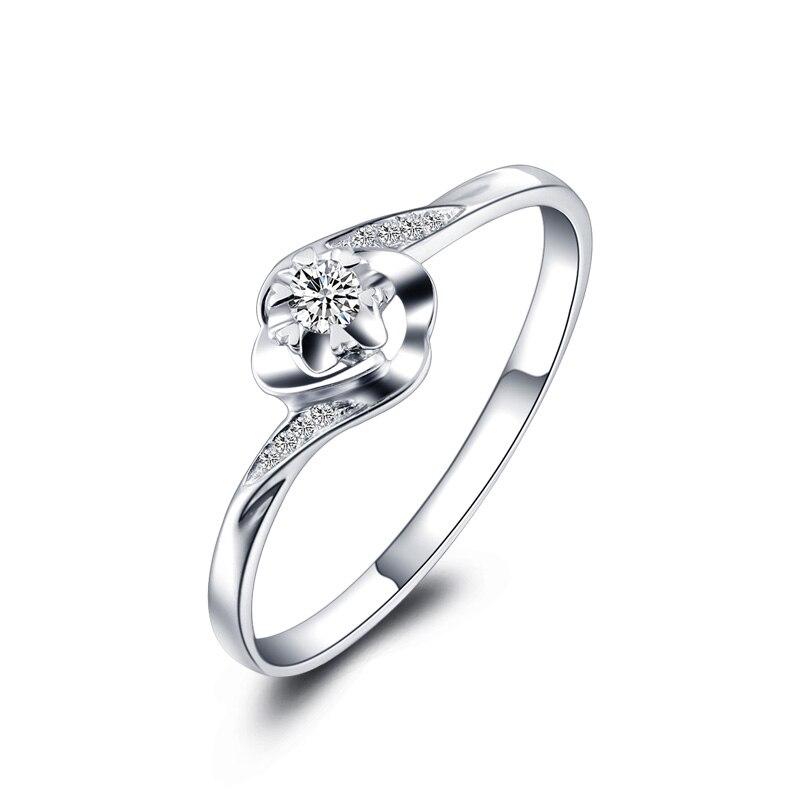 Anillo de diamantes de oro blanco de 18 quilates auténtica Rosa oro platino boda pareja
