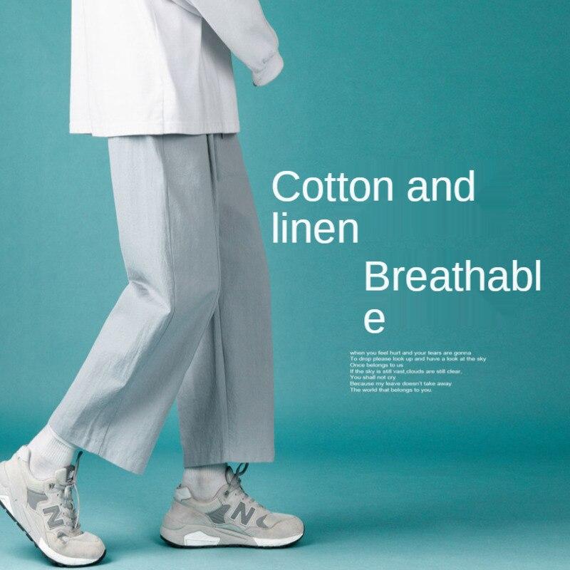 Коричневые, синие, белые повседневные штаны, мужские Модные свободные прямые брюки в Корейском стиле, Мужская Уличная одежда, широкие брюки,...