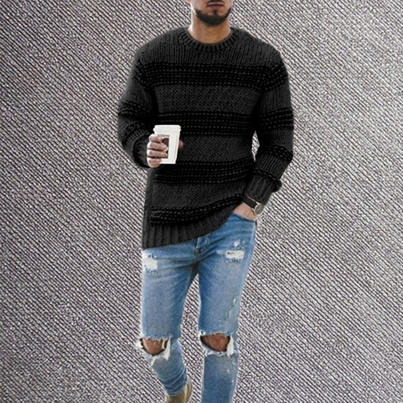 Sweater Men 2020 New Winter Fashion Casual Men's Round Neck Striped Pullover Slim-fitting Long-sleeved Men's Sweater form fitting striped shell dress