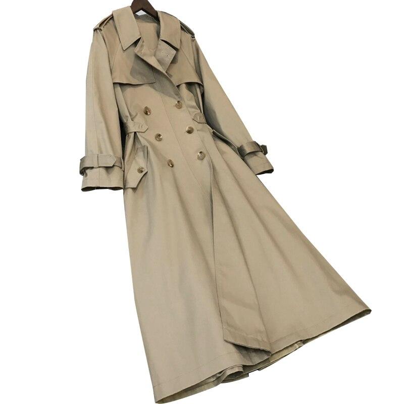 Estilo britânico mulher clássico duplo breasted trench coat impermeável casaco de chuva negócios outerwear