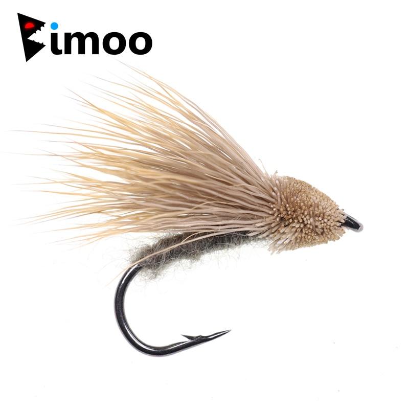 Bimoo 6 יחחבילה #10 צרצר צבי שיער זבובים צף בס לטוס קשת חום ברוק פורל לטוס דיג קיץ זבובים גדול דגי פיתיון