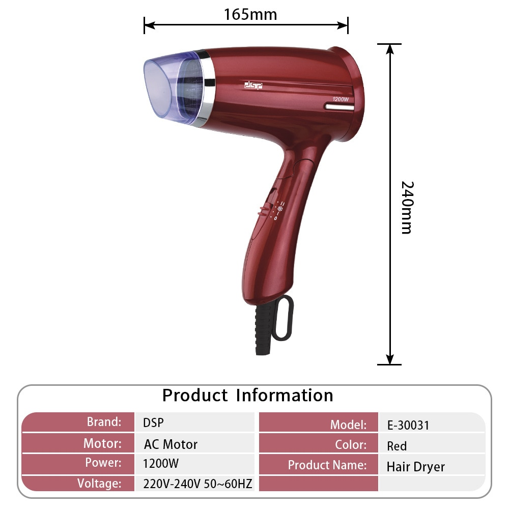 Foldable Hair Dryer F-30031 Household Travel Mute Hair Dryer 1200W enlarge