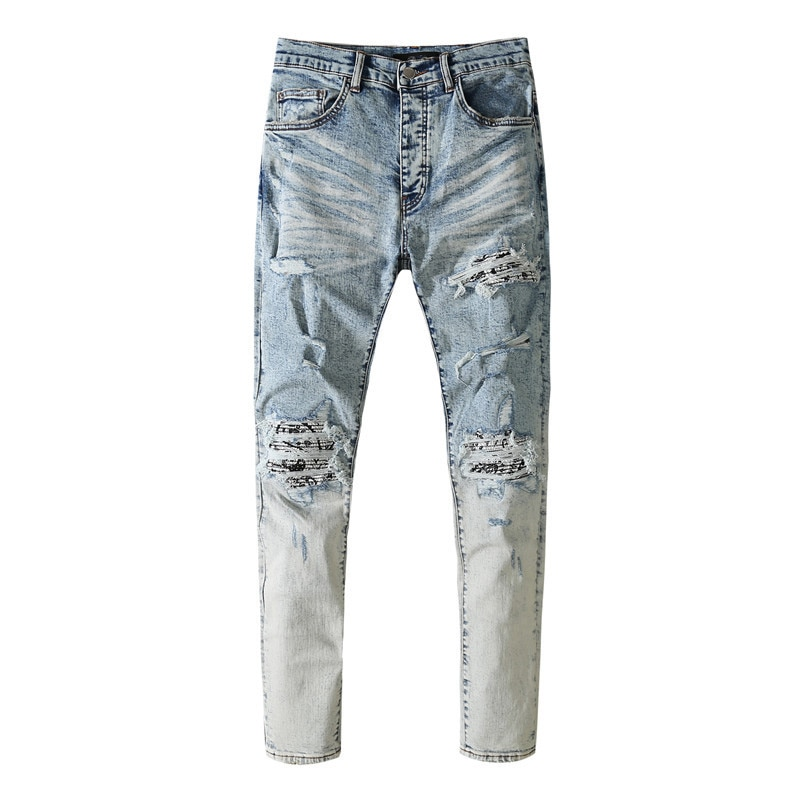 American Famous Brand AMR New Washed Vintage Patch Ripped Distressed Jeans Men's Pants Men Trousers Sweatpants Streetwear
