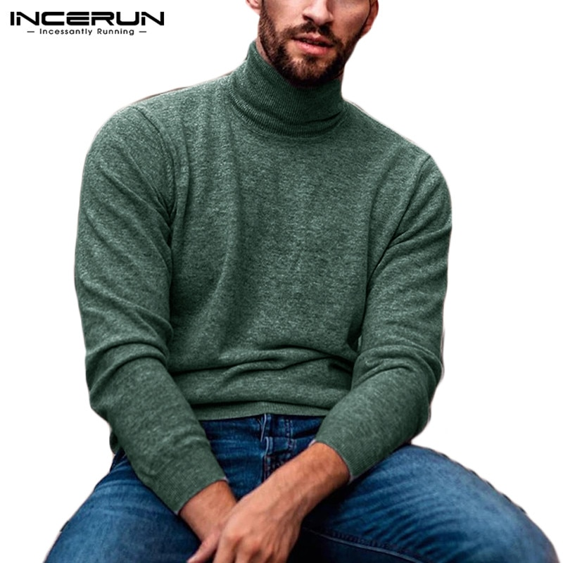 INCERUN Fashion Turtleneck Sweater Men Long Sleeve Solid Casual Knitted Thin Pullover Streetwear 2020 Fitness Sweaters S-5XL
