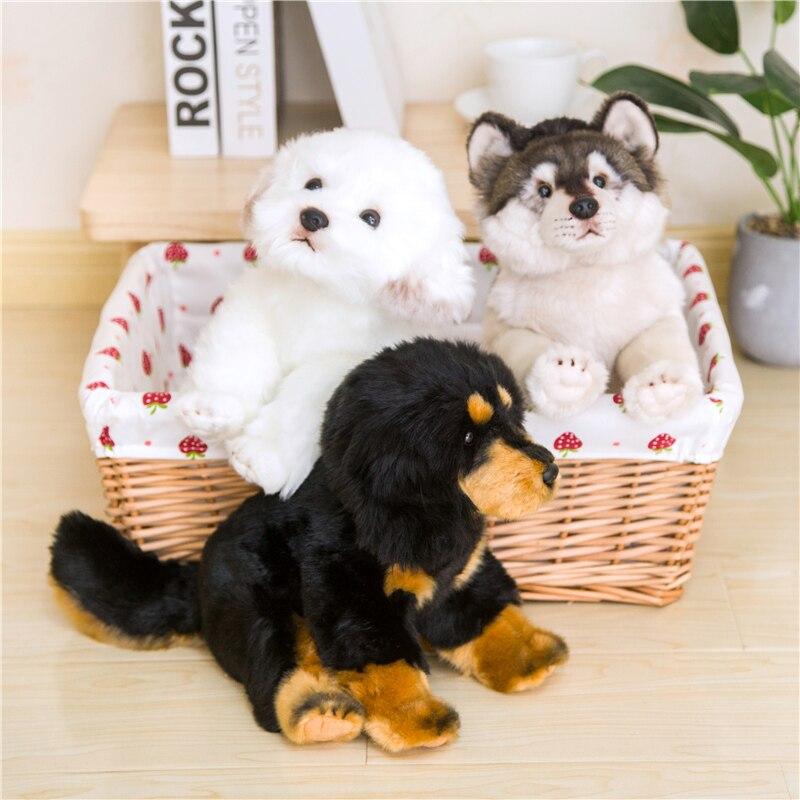 Como perros rellenos de felpa Real, muñecos peludos de bebé, Lobo sentado, mastín, perros maltés, accesorios de decoración, Plushie, para el hogar y la Oficina, 26cm