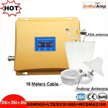 Amplificateur à trois bandes répéteur GSM 900 1800 2100 GSM DCS WCDMA 2G 3G 4G LTE amplificateur de Signal kit de répéteur de signal cellulaire