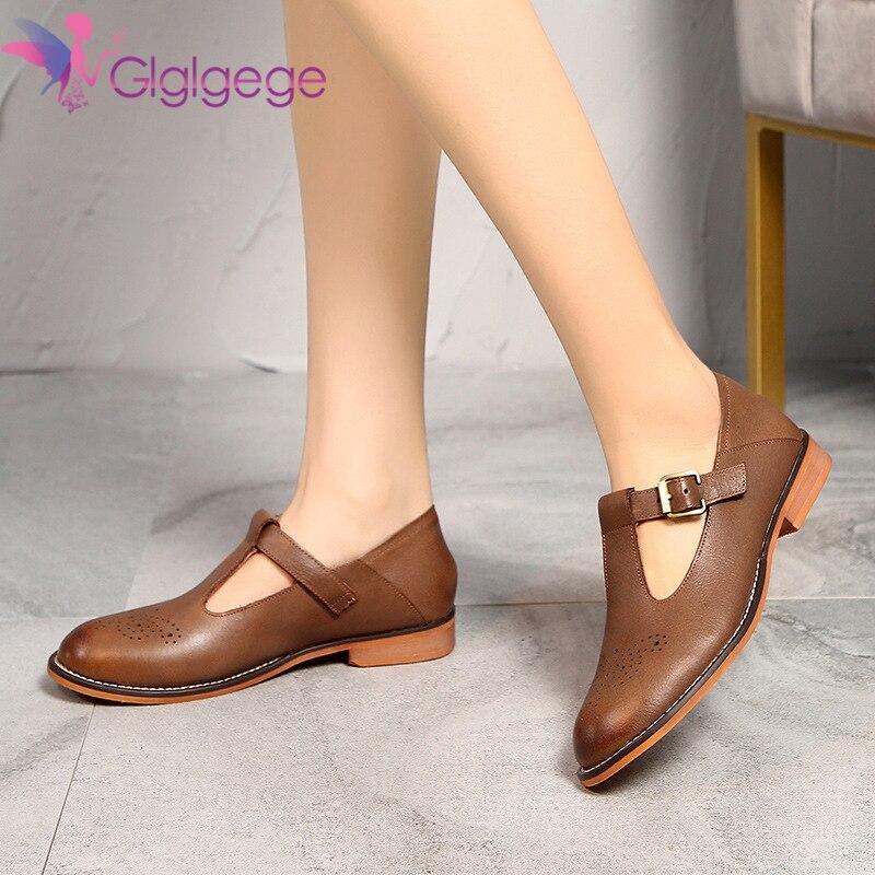 Glglgege-حذاء نسائي مسطح من الجلد ، حذاء كاجوال بسيط ومريح ، 2020