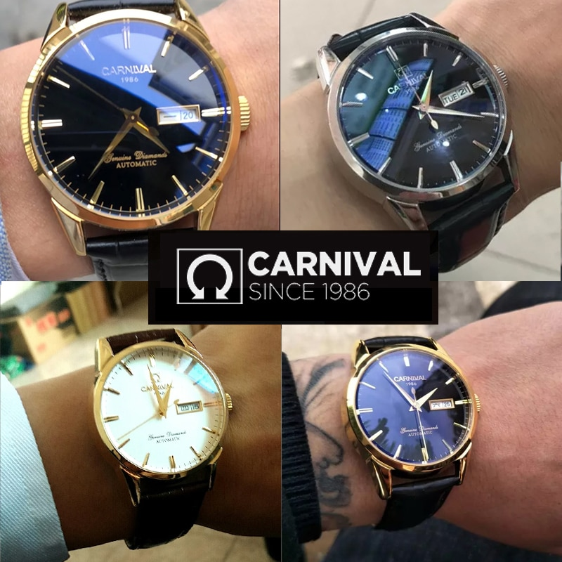 CARNIVAL New Fashion Casual Men 30M Waterproof Luminous Calendar Display Dial Leather Strap Mechanical Watches Relogio Masculino enlarge