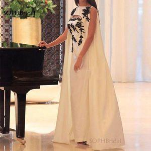 New Arrival Applique Mermaid Evening Dresses Ivory Satin Islamic Dubai Kaftan Saudi Arabic Evening Gown Prom Dress Robes