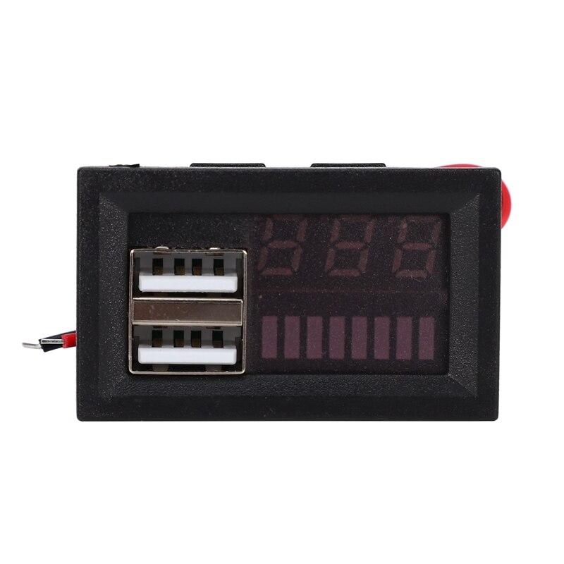 Led vermelho display digital voltímetro mini volt medidor de tensão testador painel para dc 12v carros motocicletas veículos usb 5v2a saída 12v