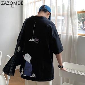 ZAZOMDE Small Cat Short-Sleeved Man T-shirt Male Loose Student Couple Ins Fashion Korean Summer TShirt Youth Tee men Oversized