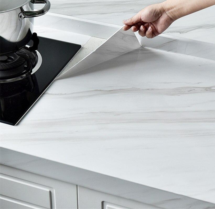 Marble Vinyl Film Self Adhesive Wallpaper Thick Waterproof Cabinet Table Marble Pattern Kitchen Oil-proof PVC Wallpaper pvc vinyl kitchen cabinet lh pv077