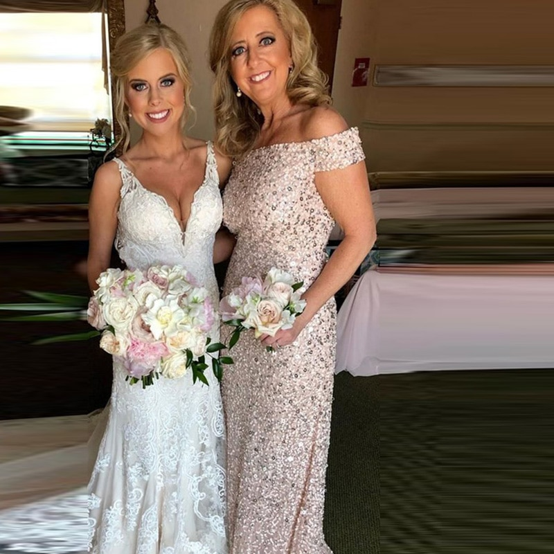 Women's Dresssuit Mother Of The Bride Dress Sequins One Shoulder Wedding Dresses Setsfor Women Custo