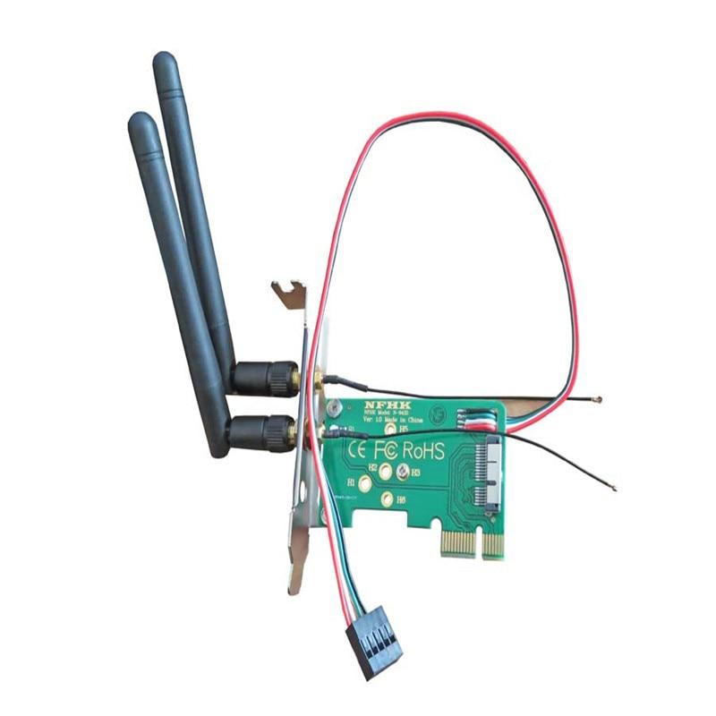 Half-height bezel BCM943224PCIEBT2 WiFi network card to PCIe x1 adapter card adapter