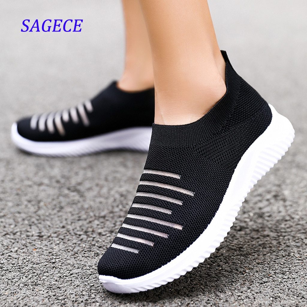 SAGACE Zapatillas de deporte de Mujer de malla sólida antideslizante calcetín Zapatos...