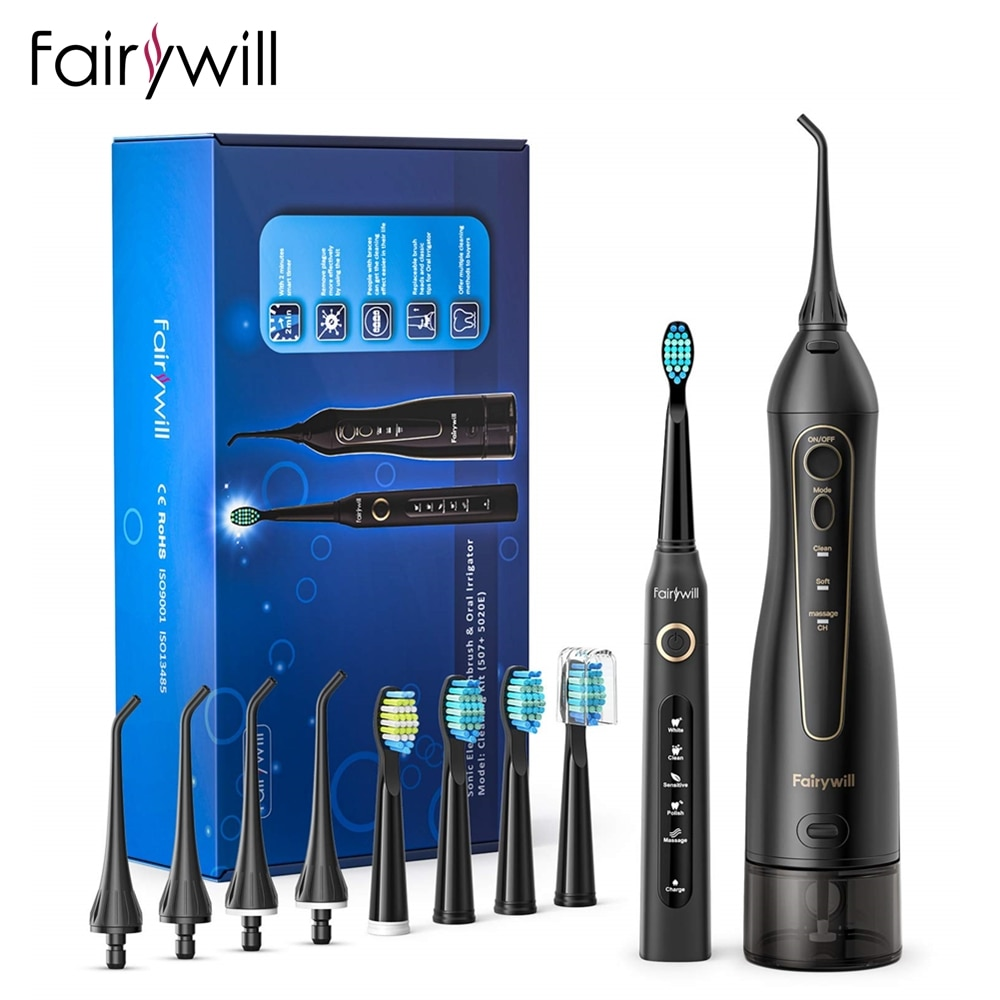 Fairywill Oral Irrigator USB Rechargeable Water Flosser Portable Dental Water Jet 300ML Water Tank Waterproof Cleaner 8 Nozzles недорого