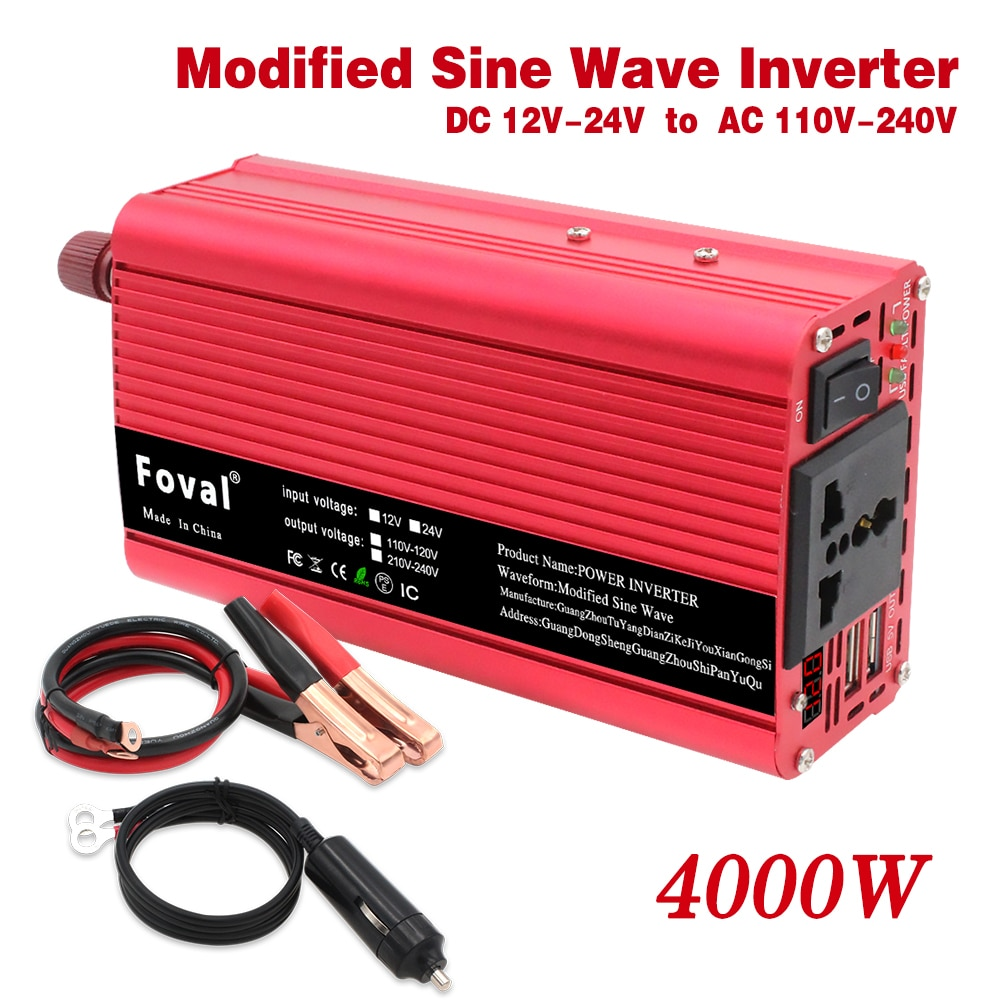 Auto Power Inverter 4000W DC 12V/ 24V zu AC 220-230V Tragbare Ladegerät Konverter adapter Dual USB Modifizierte Sinus Welle für home auto